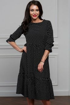 Длинное черное платье в горох Look Russian