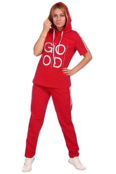 Красный спортивный костюм с капюшоном ElenaTex