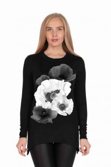 Новинка: черная туника с цветком Милана
