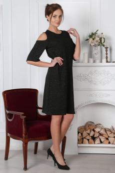 Черное платье с люрексом и открытыми плечами Милана